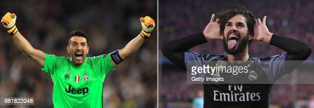 COMPOSITE OF TWO IMAGES Image numbers 680965392 and 681620400 In this composite image a comparision has been made between Gianluigi Buffon of...