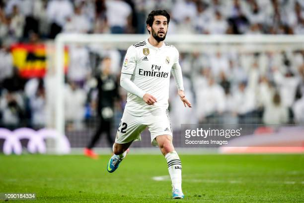Isco of Real Madrid during the Spanish Copa del Rey match between Real Madrid v Girona at the Santiago Bernabeu on January 24 2019 in Madrid Spain
