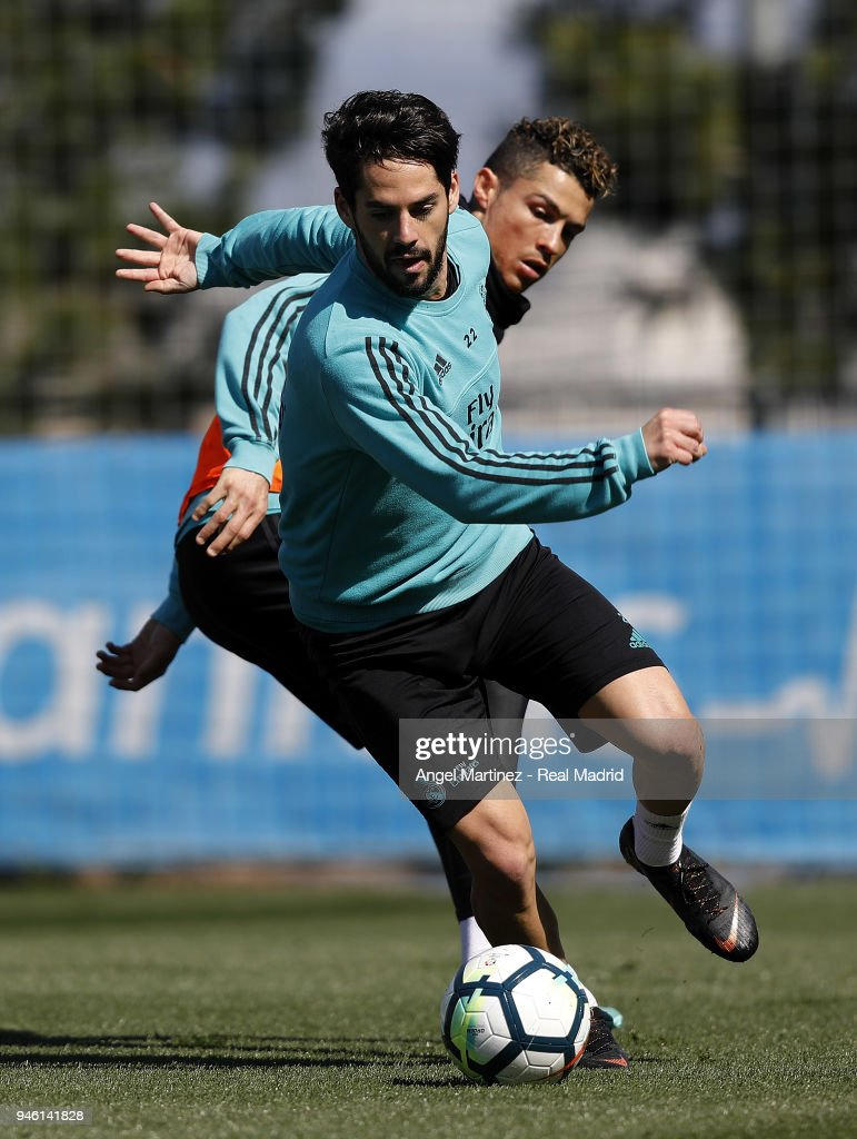 Isco of Real Madrid in action during a training session at Valdebebas training ground on April 14, 2018 in Madrid, Spain.