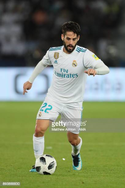 Isco of Real Madrid in action during the FIFA Club World Cup UAE 2017 final match between Gremio and Real Madrid CF at Zayed Sports City Stadium on...
