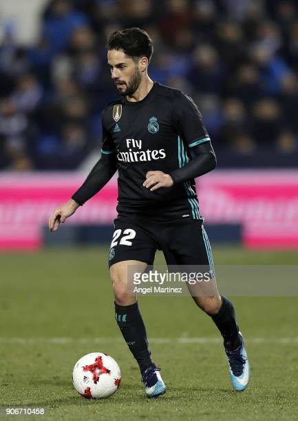Isco of Real Madrid in action during the Spanish Copa del Rey Quarter Final First Leg match between Leganes and Real Madrid at Estadio Municipal de...