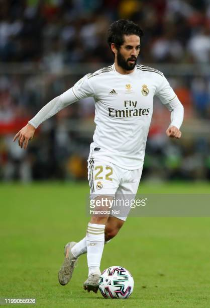 Isco of Real Madrid in action during the Supercopa de Espana Final match between Real Madrid and Club Atletico de Madrid at King Abdullah Sports City...