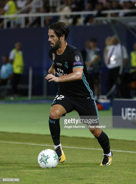 Isco of Real Madrid in action during the UEFA Super Cup match between Real Madrid and Manchester United at Philip II Arena on August 8 2017 in Skopje...