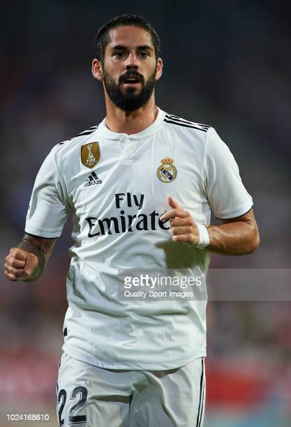 Isco of Real Madrid looks on during the La Liga match between Girona FC and Real Madrid CF at Montilivi Stadium on August 26 2018 in Girona Spain