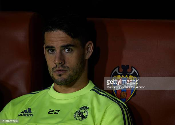 Isco of Real Madrid looks on prior to the La Liga match between Levante UD and Real Madrid at Ciutat de Valencia on March 02 2016 in Valencia Spain
