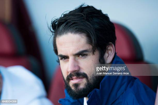 Isco of Real Madrid looks on prior to the start the La Liga match between SD Eibar and Real Madrid at Ipurua Municipal Stadium on March 4 2017 in...