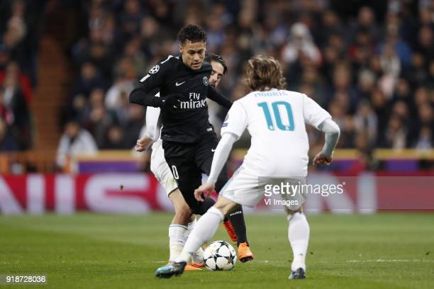 Isco of Real Madrid Neymar of Paris SaintGermain Luka Modric of Real Madrid during the UEFA Champions League round of 16 match between Real Madrid...