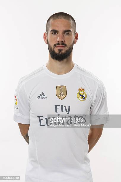 Isco of Real Madrid poses during the official portrait photocall at Valdebebas training ground on September 28 2015 in Madrid Spain