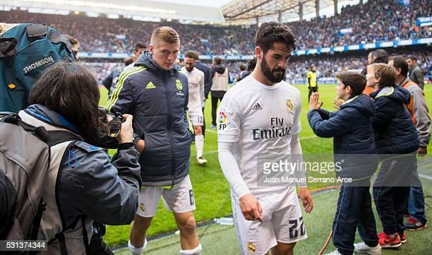 Isco of Real Madrid reacts during the La Liga match between RC Deportivo La Coruna and Real Madrid CF at Riazor Stadium on May 14 2016 in La Coruna...