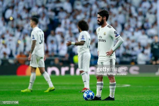 Isco of Real Madrid reacts during the UEFA Champions League Group G match between Real Madrid and CSKA Moscow at Bernabeu on December 12 2018 in...