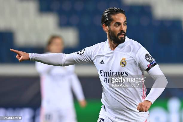 Isco of Real Madrid reacts during the UEFA Champions League Round of 16 match between Atalanta and Real Madrid at Gewiss Stadium on February 24, 2021...