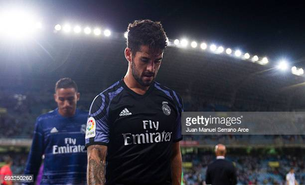 Isco of Real Madrid reacts on after to the start the La Liga match between Real Sociedad de Futbol and Real Madrid at Estadio Anoeta on August 21...