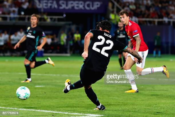 Isco of Real Madrid scores his sides second goal during the UEFA Super Cup match between Real Madrid and Manchester United at National Arena Filip II...