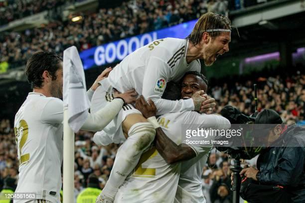 Isco of Real Madrid, Sergio Ramos of Real Madrid, Dani Carvajal of Real Madrid, Vinicius Junior of Real Madrid celebrates goal 1-0 during the La Liga...