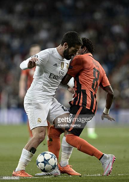 Isco of Real Madrid vies with Fred of Shakhtar Donetsk during the UEFA Champions League Group A football match between Real Madrid and Shaktar...