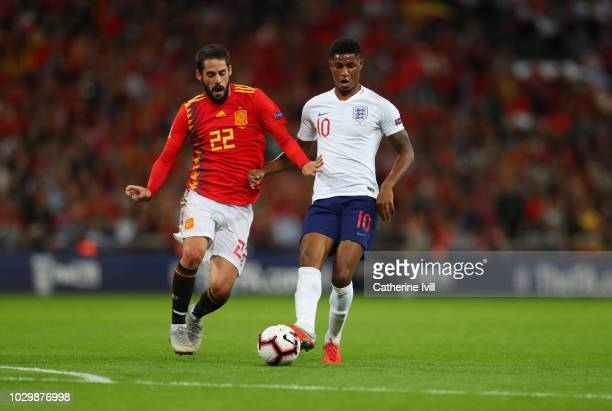Isco of Spain and Marcus Rashford during the UEFA Nations League A group four match between England and Spain at Wembley Stadium on September 8 2018...