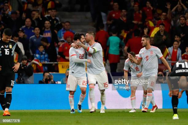 Isco of Spain celebrates after scoring a goal with team mates during the international friendly between Spain and Argentina at Wanda Metropolitano on...
