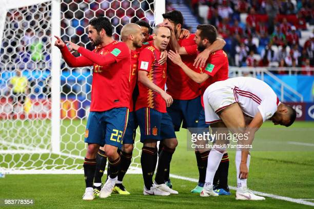 Isco of Spain celebrates after scoring his sides first goal during the 2018 FIFA World Cup Russia group B match between Spain and Morocco at...