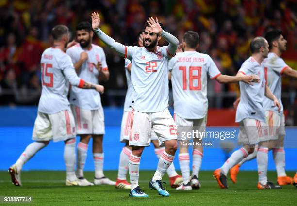 Isco of Spain celebrates after scoring his sides second goal during the International Friendly between Spain and Argentina on March 27 2018 in Madrid...