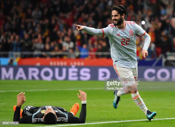 Isco of Spain celebrates after scoring his sides third goal during the International Friendly between Spain and Argentina at Wanda Metropolitano on...