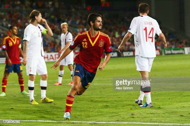 Isco of Spain celebrates his team's second goal during the UEFA European U21 Championship Semi Final match between Spain and Norway at Netanya...