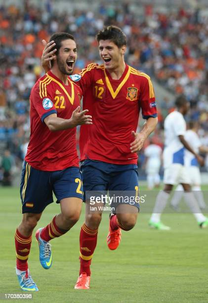 Isco of Spain celebrates scoring the 2nd Goal during the UEFA European U21 Championships Group B match between Spain and Netherlands at Ha Moshava...