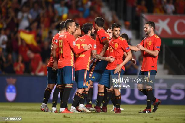 Isco of Spain celebrates with team mates as he scores his team's sixth goal during the UEFA Nations League A Group four match between Spain and...