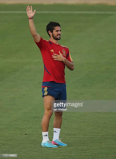 Isco of Spain during a Spain Training Session before the UEFA European U21 Championships final at Kfar Saba Stadium on June 17 2013 in Kfar Saba...