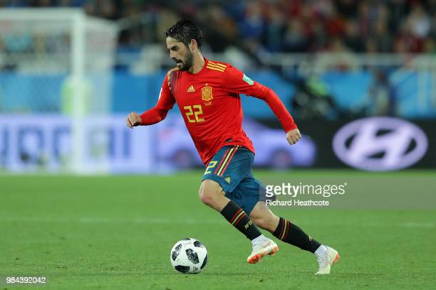 Isco of Spain in action during the 2018 FIFA World Cup Russia group B match between Spain and Morocco at Kaliningrad Stadium on June 25 2018 in...