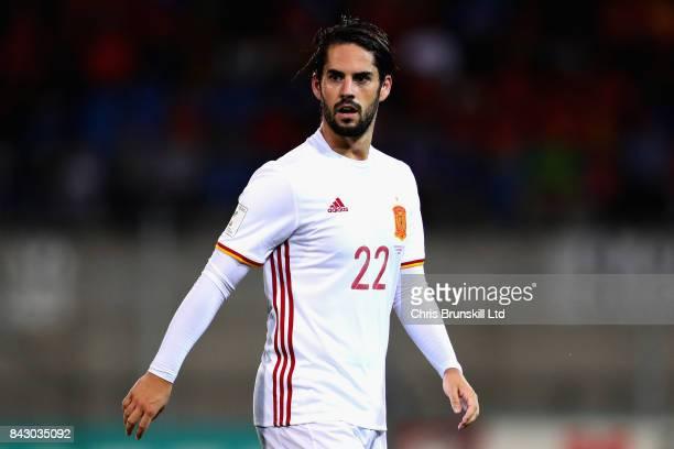 Isco of Spain looks on during the FIFA 2018 World Cup Qualifier between Liechtenstein and Spain at Rheinpark Stadion on September 5 2017 in Vaduz...
