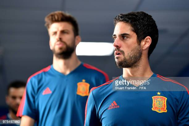 Isco of Spain looks on in the tunnel prior to the 2018 FIFA World Cup Russia group B match between Portugal and Spain at Fisht Stadium on June 15...