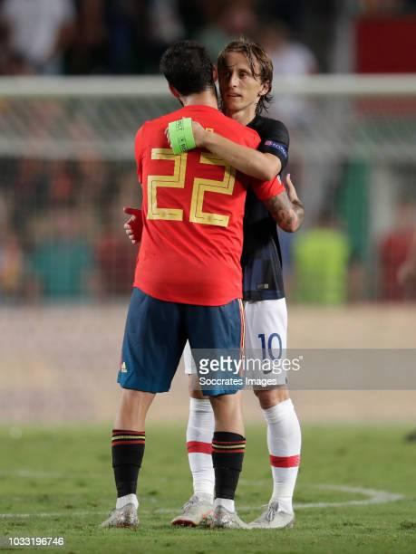 Isco of Spain Luka Modric of Croatia during the UEFA Nations league match between Spain v Croatia at the Estadio Manuel Martínez Valero on September...