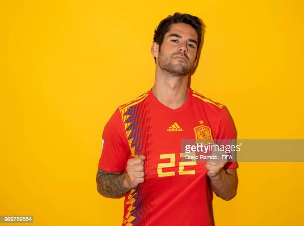 Isco of Spain poses during the official FIFA World Cup 2018 portrait session at FC Krasnodar Academy on June 8 2018 in Krasnodar Russia