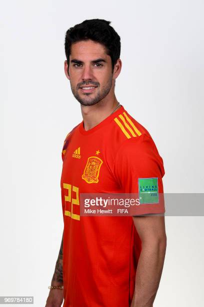 Isco of Spain poses for a portrait during the official FIFA World Cup 2018 portrait session at FC Krasnodar Academy on June 8 2018 in Krasnodar Russia