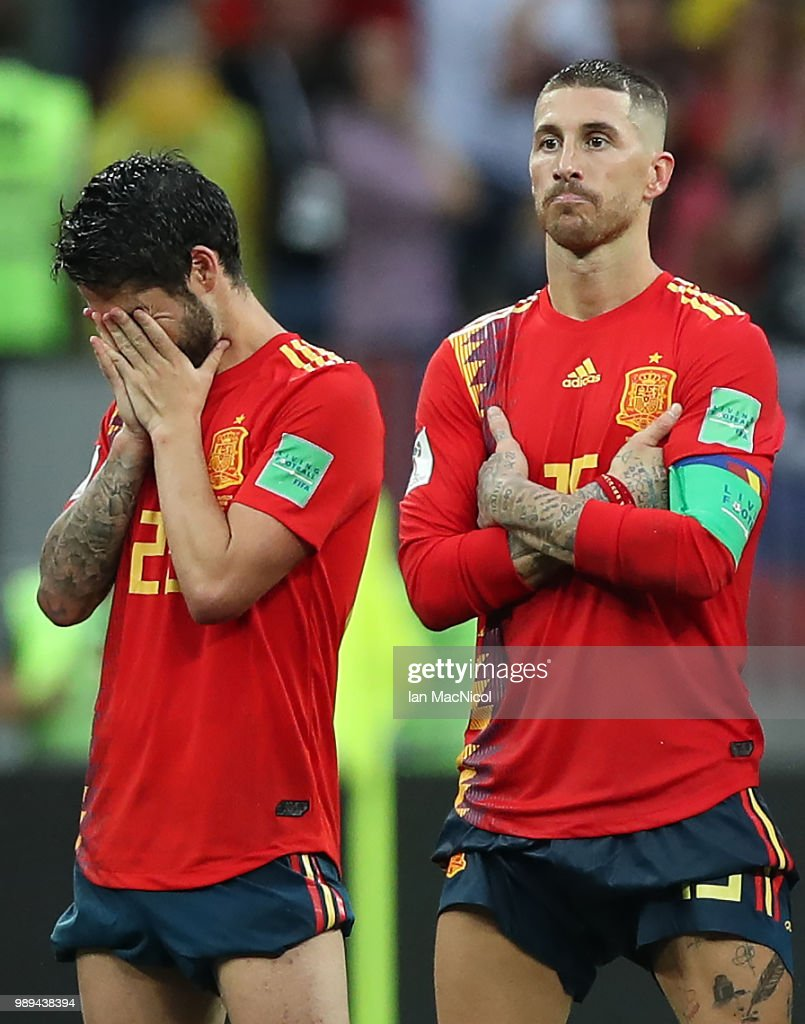 Isco of Spain reacts in the penalty shoot out during the 2018 FIFA World Cup Russia Round of 16 match between Spain and Russia at Luzhniki Stadium on July 1, 2018 in Moscow, Russia.