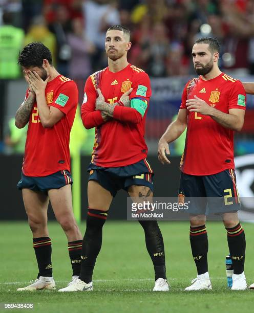 Isco of Spain reacts in the penalty shoot out during the 2018 FIFA World Cup Russia Round of 16 match between Spain and Russia at Luzhniki Stadium on...