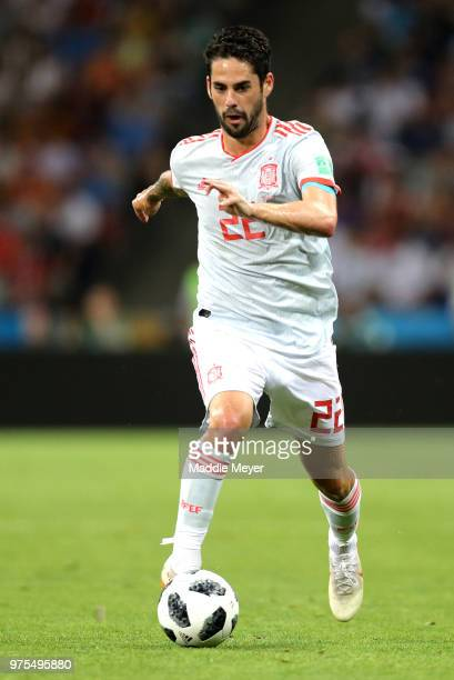 Isco of Spain runs with the ball during the 2018 FIFA World Cup Russia group B match between Portugal and Spain at Fisht Stadium on June 15 2018 in...