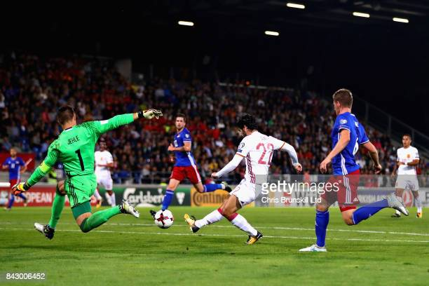 Isco of Spain scores his sides third goal during the FIFA 2018 World Cup Qualifier between Liechtenstein and Spain at Rheinpark Stadion on September...