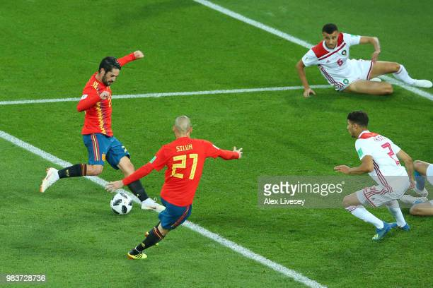 Isco of Spain scores his team's first goal during the 2018 FIFA World Cup Russia group B match between Spain and Morocco at Kaliningrad Stadium on...