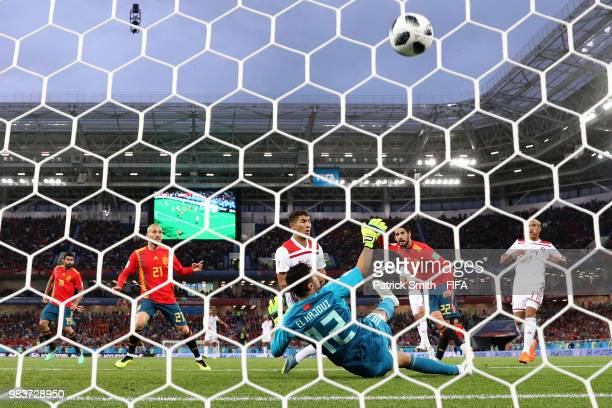 TOPSHOT Spain's midfielder Andres Iniesta vies with Morocco's defender Manuel Da Costa during the Russia 2018 World Cup Group B football match...