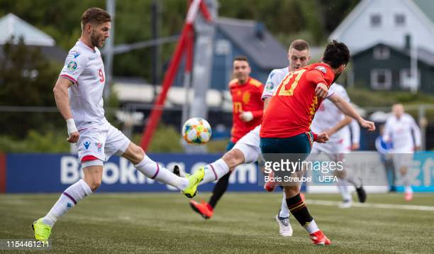 Isco of Spain scores his team's third goal during the UEFA Euro 2020 Qualifier Group F match between Faroe Islands and Spain at Torsvollur on June 07...