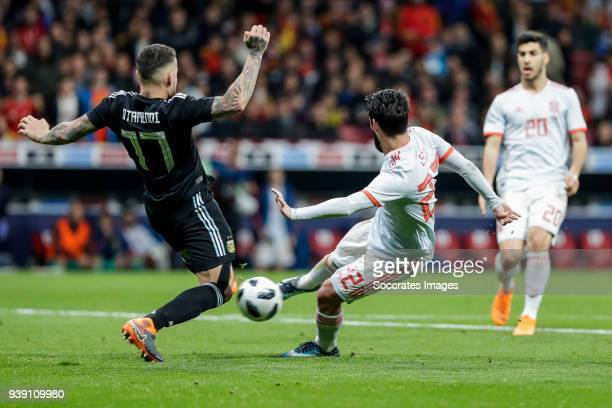 Isco of Spain scores the second goal to make it 20 Nicolas Otamendi of Argentina during the International Friendly match between Spain v Argentina at...