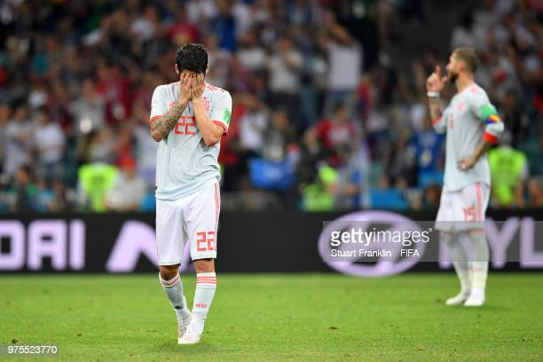 Isco of Spain shows his dejection during the 2018 FIFA World Cup Russia group B match between Portugal and Spain at Fisht Stadium on June 15 2018 in...