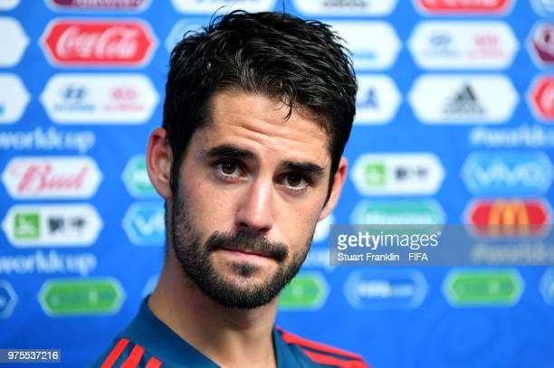 Isco of Spain speaks in a press conference following the 2018 FIFA World Cup Russia group B match between Portugal and Spain at Fisht Stadium on June...