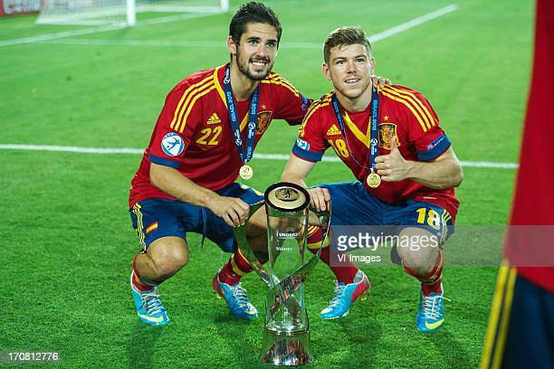 Isco of Spain U21, Alberto Moreno of Spain U21 with cup during the UEFA Euro U21 final match between Italy U21 and Spain U21 on June 18, 2013 at the...