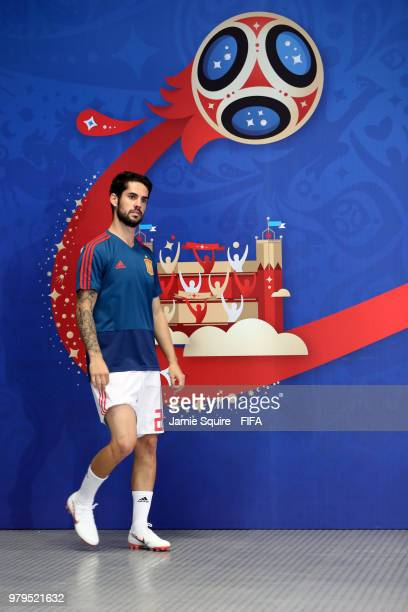 Isco of Spain walks in the tunnel prior to the 2018 FIFA World Cup Russia group B match between Iran and Spain at Kazan Arena on June 20 2018 in...