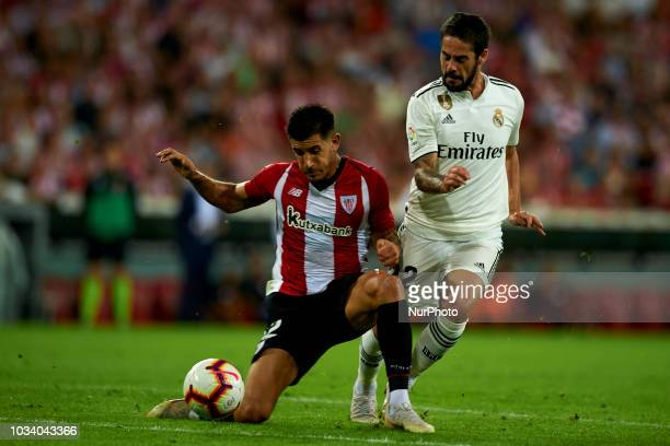 Isco Yuri battle for the ball during the match between Athletic Club against Real Madrid at San Mames Stadium in Bilbao Spain on September 15 2018