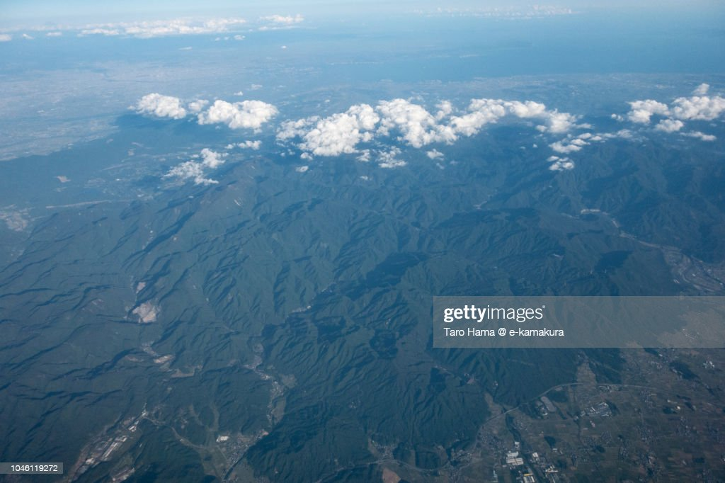 Ise Bay and Suzuka Mountains in Japan daytime aerial view from airplane : ストックフォト