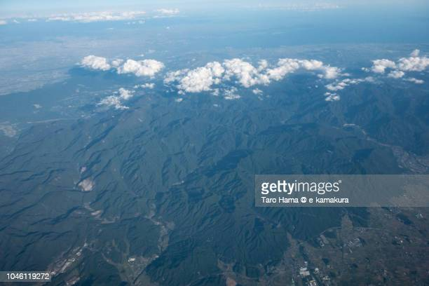 ise bay and suzuka mountains in japan daytime aerial view from airplane - mie prefecture stock pictures, royalty-free photos & images
