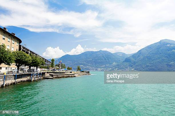 iseo lake seen from the solto shore - riva dell'acqua foto e immagini stock